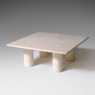 Travertine Coffee Table by Up & Up, Italy 1970's
