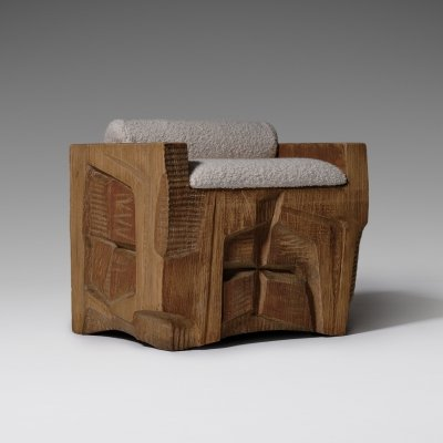 Unique sculptural carved side chair by J. Moroder, 1970s