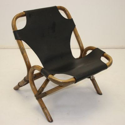 Rattan relax chair with black leather seat, 1960s