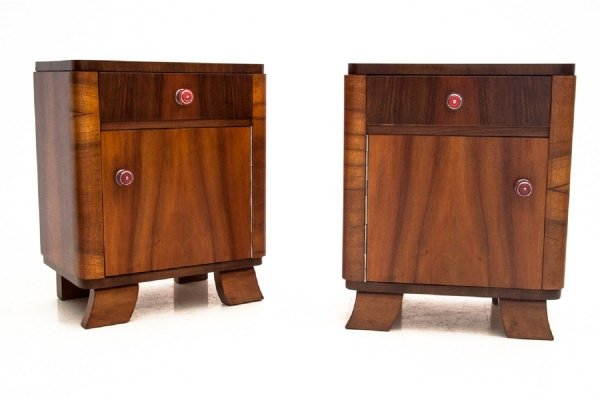 Pair of Art Deco bedside tables, Poland circa 1930
