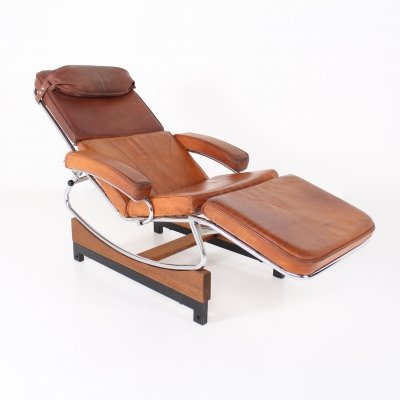 Cognac color leather rocking lounge chair, 1960's