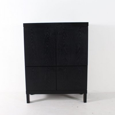 Brutalist blackened oak cocktail cabinet, 1970's