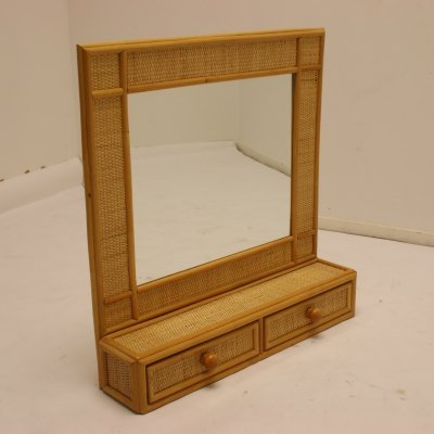 Bamboo mirror with drawers, 1970s