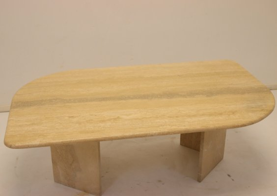 French Travertine marble Coffee table, 1960's