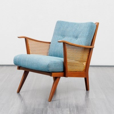 Vintage 1950s armchair in beechwood with Viennese weave