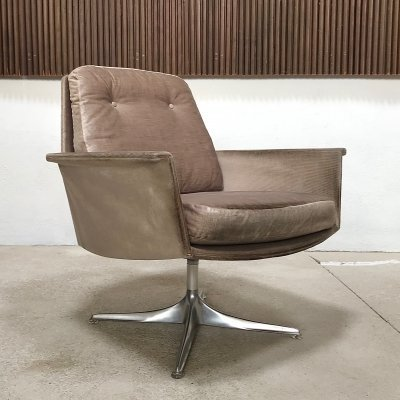 German Mohair & Aluminum Sedia Chair by Horst Brüning for COR, 1960s