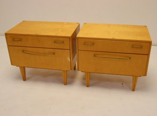 Vintage set of bedside tables with drawer & flap