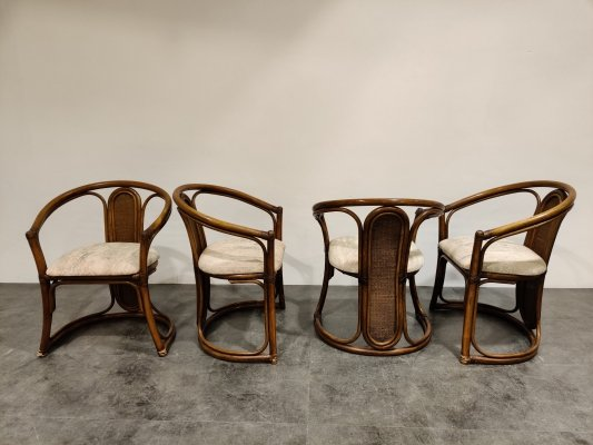 Set of 4 bentwood & rattan dining chairs, 1970s