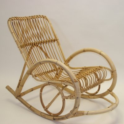 Vintage rattan rocking chair by Rohé Noordwolde, 1960s