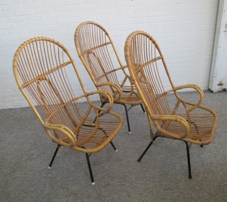 Set of 3 rattan armchairs by Rohé Noordwolde, 1960s
