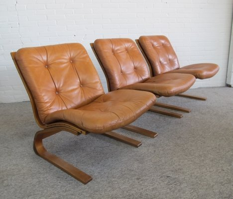 3 Kengu leather lounge chars by Elsa & Nordahl Solheim for Rybo Rykken, 1970s