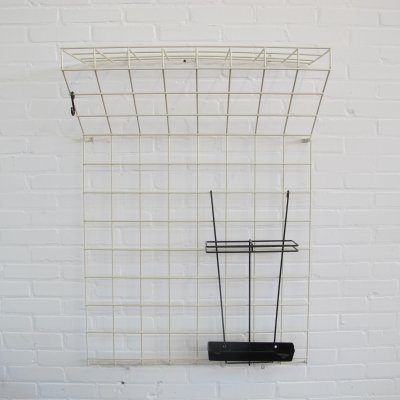 Black & white Wire Steel Wall Coat Rack, 1960's