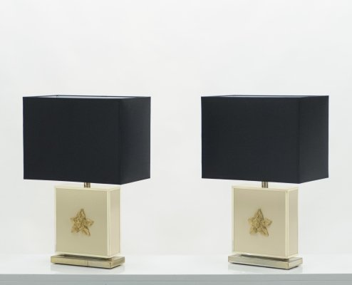 Pair of large Mid-century J.C. Mahey white lacquer brass table lamps, 1970s