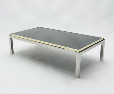Large brass & chrome 'Flaminia' Coffee Table by Willy Rizzo, 1970s