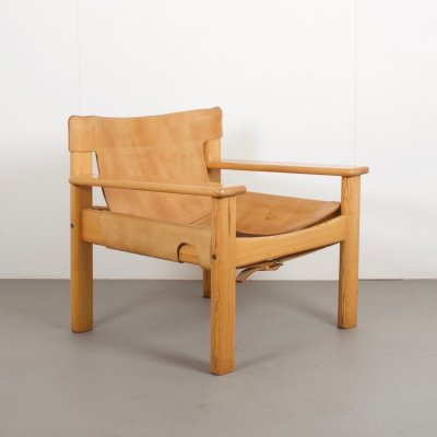 Karin Mobring Natura Pine & Leather Armchair for IKEA, 1970s