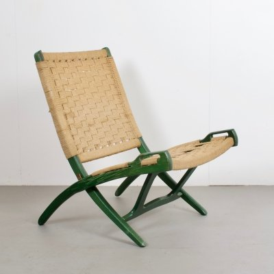 Foldable Rope Chair by Ebert Wels in Green, 1970s
