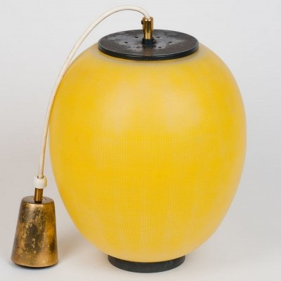 Yellow stained glass ceiling lamp, circa 1950