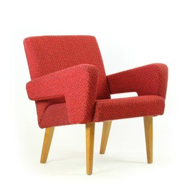 Midcentury Armchair in Red Fabric by Jitona, Czechoslovakia 1960s