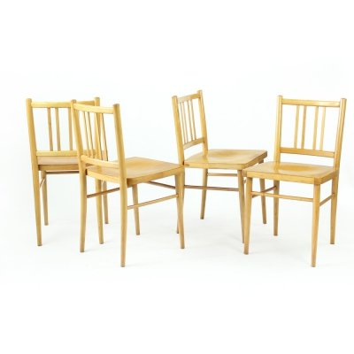 Set of 4 Dining Chairs by Ton In Blond Oak, Czechoslovakia 1960s