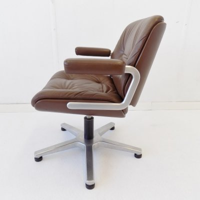 Martin Stoll brown leather office chair by Karl Dittert, 1960s