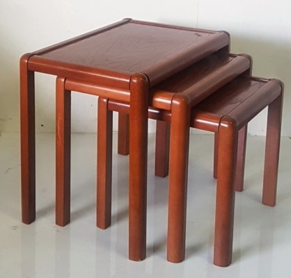 Set of 3 wood nesting tables, France 1970s