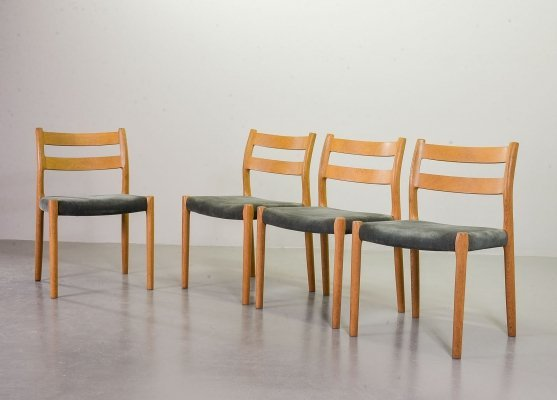 Niels Otto Moller Dining Chairs Model 84 in Solid Beech Wood & Grey Velvet, 1960s