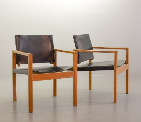 Brutalist Scandinavian Solid Oakwood Armchairs with Black Saddle Leather, 1960s