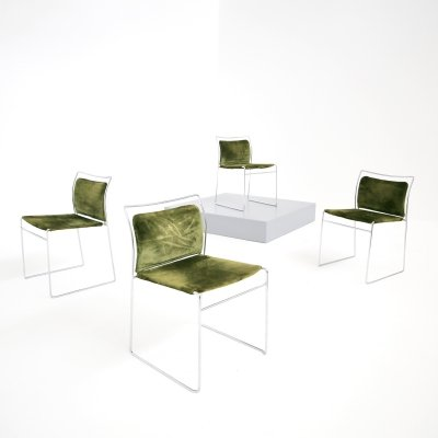 Set of 4 'Tulu' chairs in green velvet by Kazuhide Takahama for Gavina, 1969