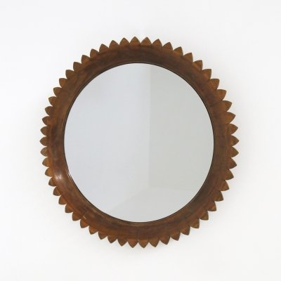 Circular Walnut Wall Mirror by Fratelli Marelli, Italy 1950s