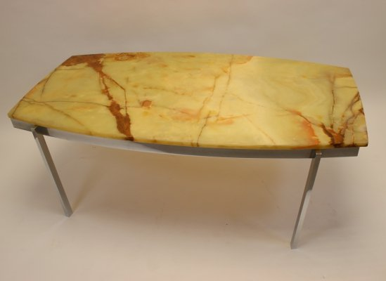 Coffee table with Italian top & chrome base, 1970s