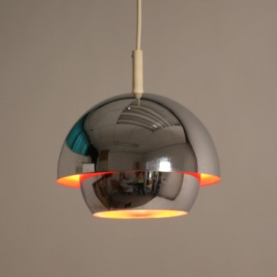 Chrome space age hanging lamp with orange inside, 1960s