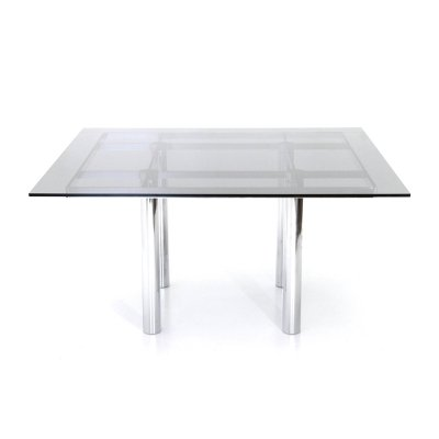 Square 'Andrè' table with smoked glass top by Tobia Scarpa for Gavina, 1960s
