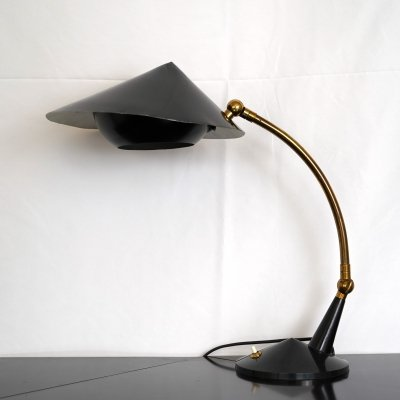 Vintage Italian brass & black lacquer table lamp by Stilnovo, 1950s