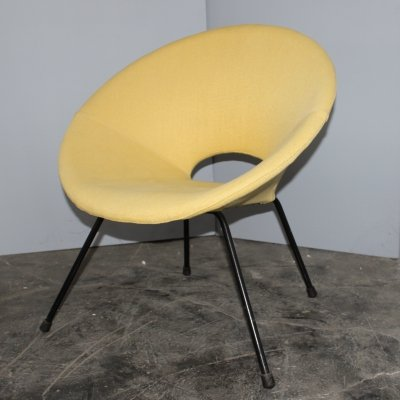 Italian round Mid-century light yellow armchair, 1950s