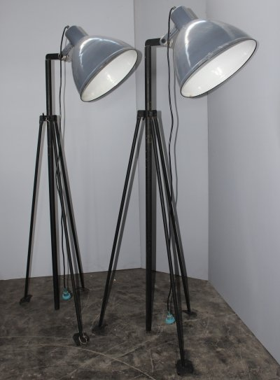 Italian Midcentury industrial army floor lamps by A. Perrazzone, Torino Italy