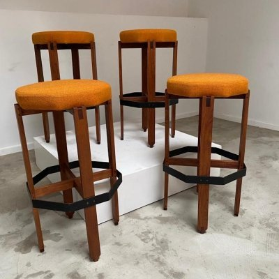 Set of 4 Italian bar stools, 1970s