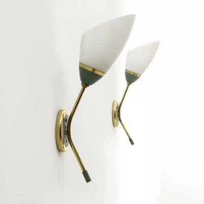 Pair of wall lamps in brass & opal glass, 1950s