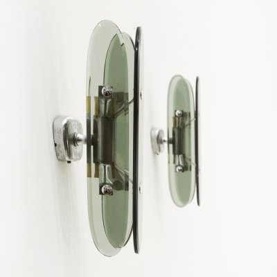 Pair of wall lights in chromed metal & smoked glass, 1970s