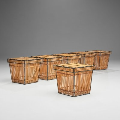Six Storage Baskets by Rohé Noordwolde, Netherlands 1960s