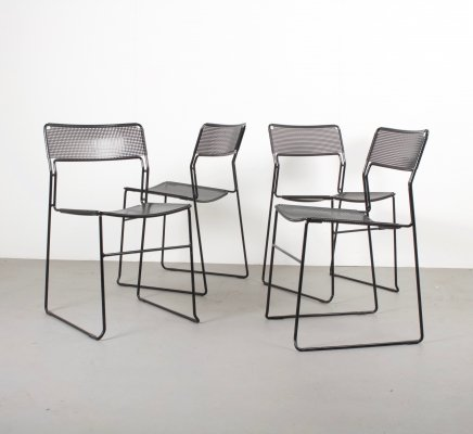 Set of Four Stackable Perforated Metal Chairs, Netherlands 1980s