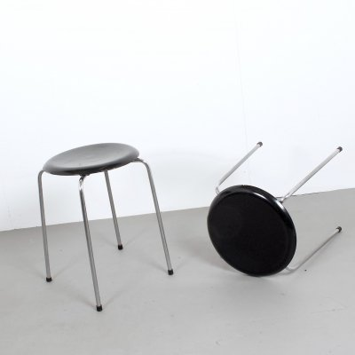 Pair of DOT Stools 3107 by Arne Jacobsen for Fritz Hansen, Denmark 1970s
