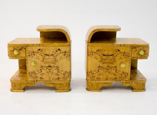 Art Deco bedside tables, Poland circa 1950s