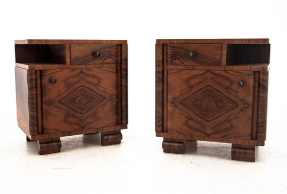 Art Deco bedside tables, Poland 1950s