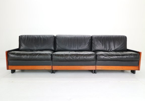 Black Leather 'Model 920' 3-Seat Sofa by Afra & Tobia Scarpa for Cassina, 1960s