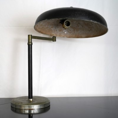 Vintage Italian black lacquer & nickel desk lamp, 1940s