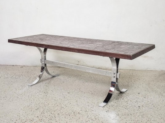 Copper Plated Brutalist Coffee Table, 1970s