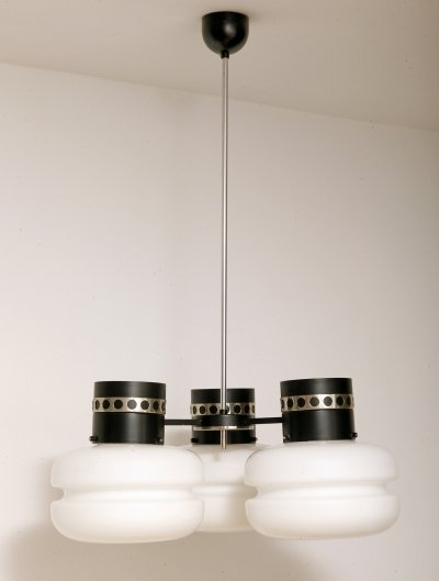 Three-point black white glass metal pendant lamp by Napako, Czechoslovakia 1970s