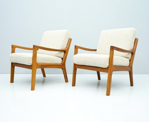 Pair of Ole Wanscher Easy Chairs in Teak & Fabric