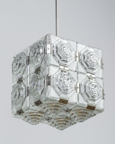 Cut Glass Cube Pendant from Kamenicky Senov, 1950s