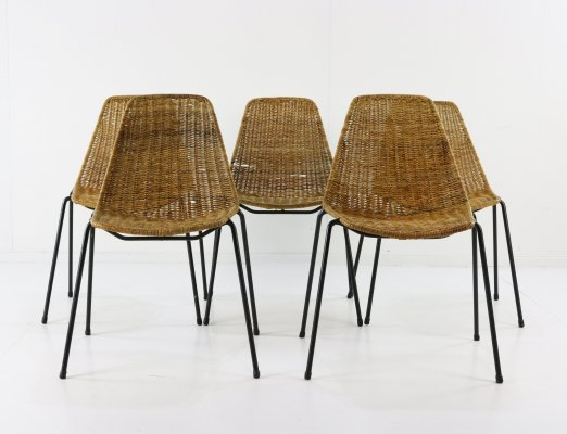 Set of 5 Basket dining chairs by Gian Franco Legler for Aarea, 1950s